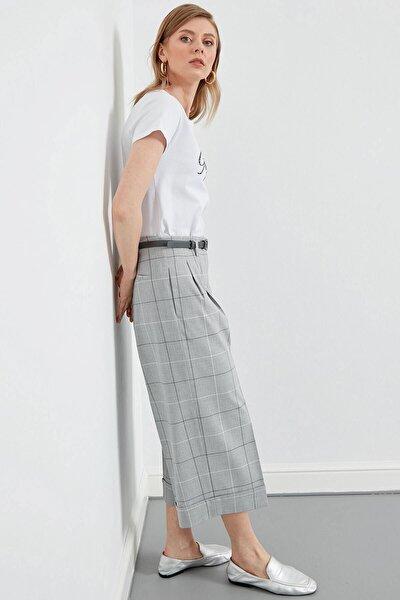 Kadın Gri Bel Kemer Detaylı Pileli Duble Bol Paça Pantolon