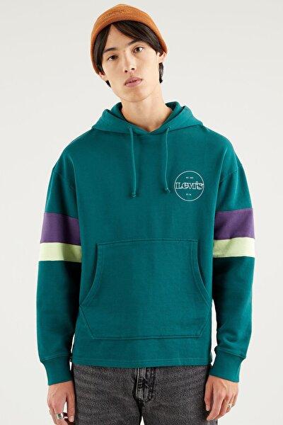 Erkek Yeşil Kapüşonlu Relaxed Sweatshirt