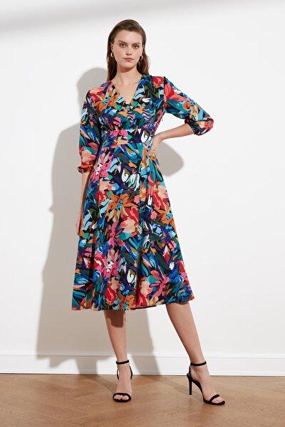 Lacivert Çiçek Desenli Elbise TWOSS21EL0279
