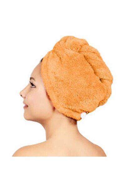 Düz Eponj Düğmeli Havlu Narçiçeği Saç Kurulama Bonesi
