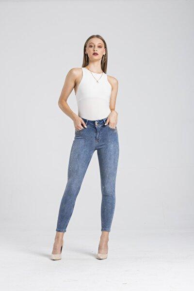 Modafaf Kadın Yüksek Bel Taş Detay Skinny Fit Kot Pantolon Mira 5711
