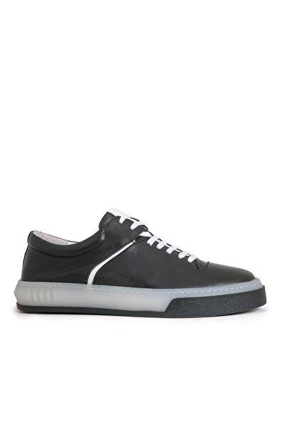 Roaman Erkek Siyah Beyaz Hakiki Deri Spor Ayakkabı Sneaker 10112