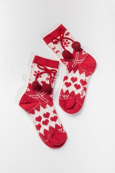 Kız Çocuk Kırmızı  Yeni Yıl Çorap