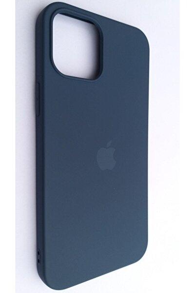 Iphone 12 Pro Max 6.7 Lacivert Lansman Içi Kadife Logolu Silikon Kılıf