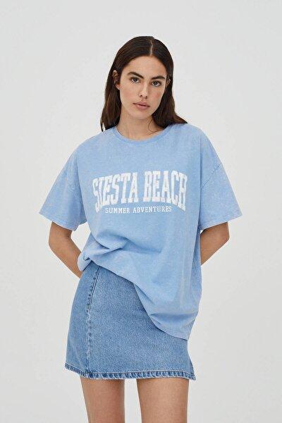 Soluk Efektli Mavi Kolej T-shirt