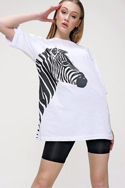 Kadın Süprem Zebra Baskılı Tshırt