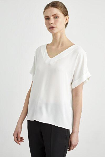 Kadın Kemik Kısa Kollu V Yaka Bluz
