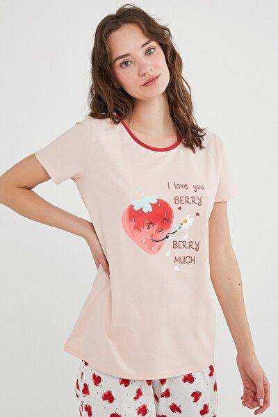 Kadın Pembe Berry Much Ss Tişört