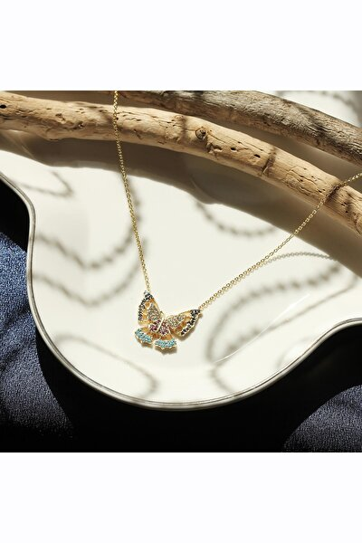Lüx Gold Zirkon Renkli Kelebek Kolye