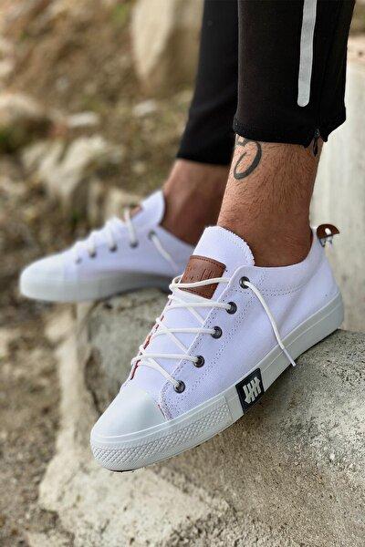 Erkek Beyaz Triko Spor Sneaker