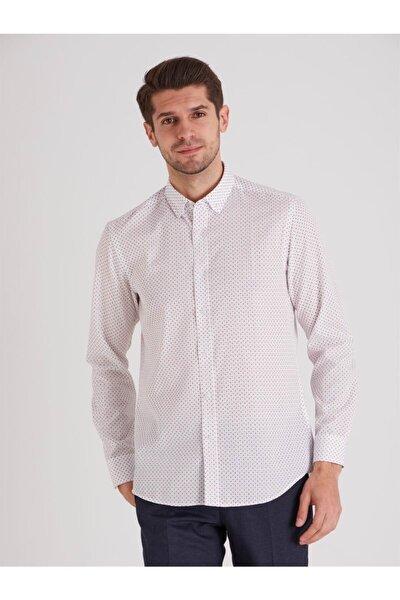 Beyaz Desenli Pamuklu Polyester Erkek Gömlek - Slım Fıt