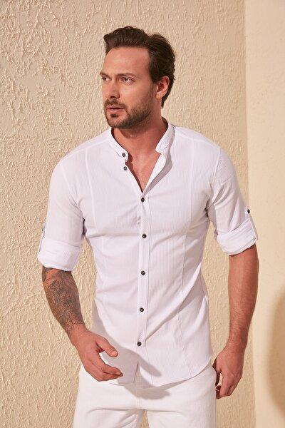 Beyaz Erkek Hakim Yaka Bengalin Kuplu Ekstra Slim Fit Gömlek TMNSS20GO0121
