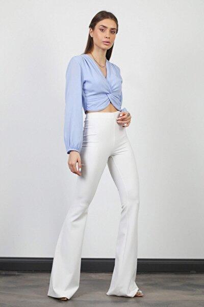 Kadın Beyaz Ispanyol Paça Cepsiz Pantolon
