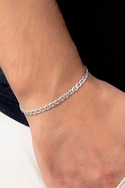 Barlı Gümüş Erkek Zincir Bileklik Veb-5023