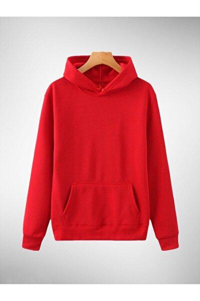 Kapşonlu Kırmızı Pamuklu Örme Sweatshirt