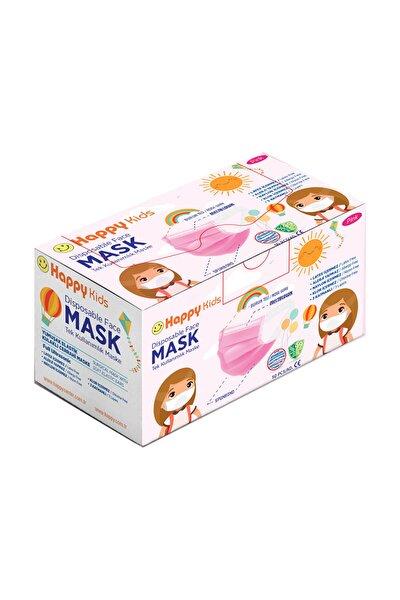 Kids Elastik Kulaklı 3 Katlı Telli Pembe Cerrahi Maske 50 Li