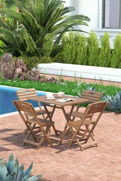Minder Hediye Balkon - Bahçe 5'li Katlanabilir Bistro Set 4 Sandalye 1 Bhçe 60x80 Cm Masa