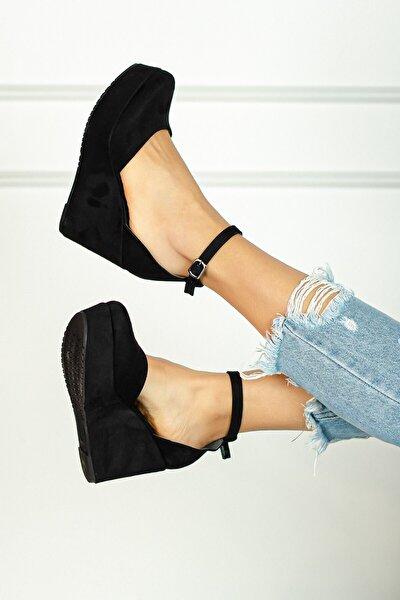Kadın  Siyah Dolgu Topuk Ayakkabı