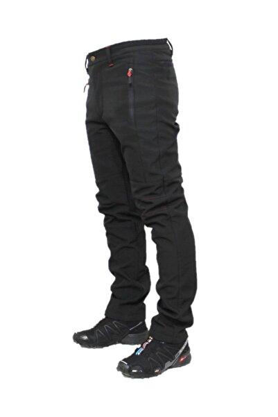 Unisex Siyah  Softshell Su Rüzgar Geçirmez Polarlı Pantolon