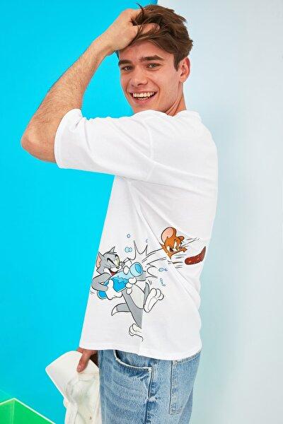 Beyaz Erkek Oversize Tom & Jerry Lisanslı Baskılı Kısa Kollu T-Shirt TMNSS21TS0247