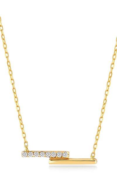 Kadın Altın Diamond Çift Bar Pırlanta Kolye