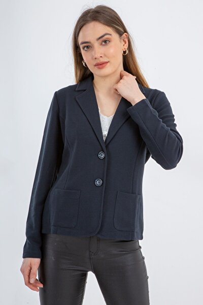 Kadın  Lacivert Erkek Yaka Önden Cepli Düğmeli Ceket