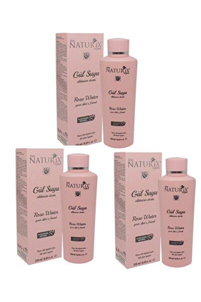 3 Adet Tonik Etkili Onarıcı Cilt Sıkılaştırıcı Rose Water %100 Doğal 250 ml Cilt Besleyici Gül Suyu