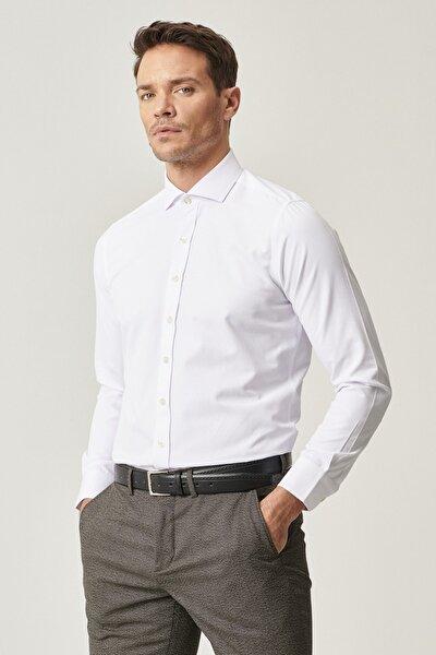 Erkek Beyaz Tailored Slim Fit Dar Kesim Italyan Yaka Armürlü Gömlek