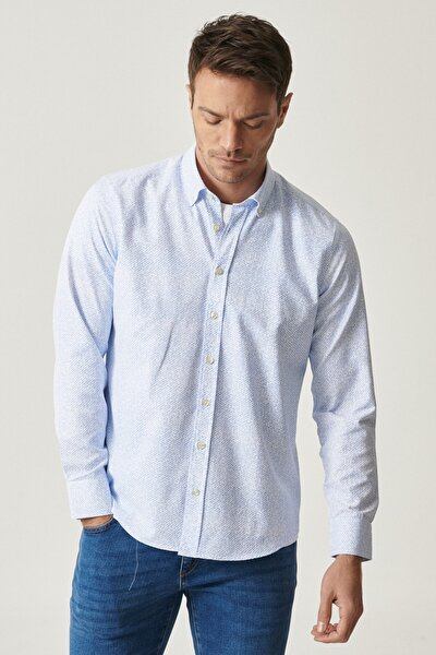 Erkek Beyaz-Mavi Tailored Slim Fit Dar Kesim Düğmeli Yaka Baskılı Gömlek