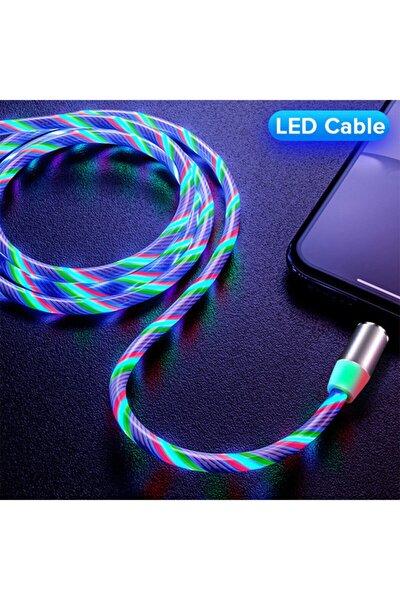 Type C Full Işıklı Hareketli Manyetik Mıknatıslı Şarj Aleti Sarj Kablosu Rbg Karışık Renkli