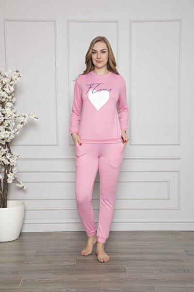 Kadın Pembe Termal Üstü Baskılı Altı Düz Pijama Takımı