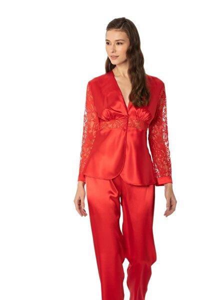 Kadın Saten Dantelli Pijama Takımı -1121 Kırmızı