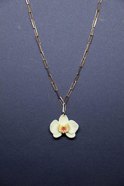 Beyaz Okide Özel Zincirli 24k Rose Altın Kaplama Gümüş El Yapımı Kolye