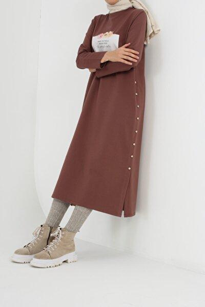 Toprak Yan Düğmeli Elbise Tunik