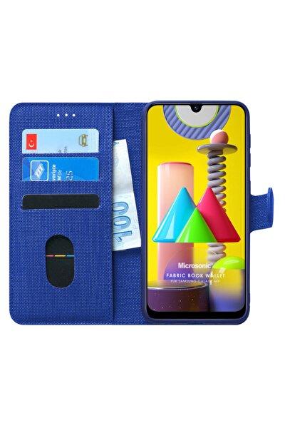 Microsonic Galaxy M31 Kılıf Fabric Book Wallet Lacivert