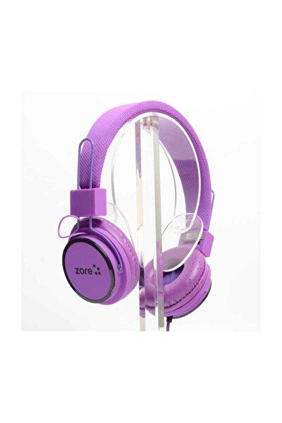 Kablolu Mikrofonlu Kulaküstü Kulaklık Kafa Bantlı 3,5 Mm Superbass Mor
