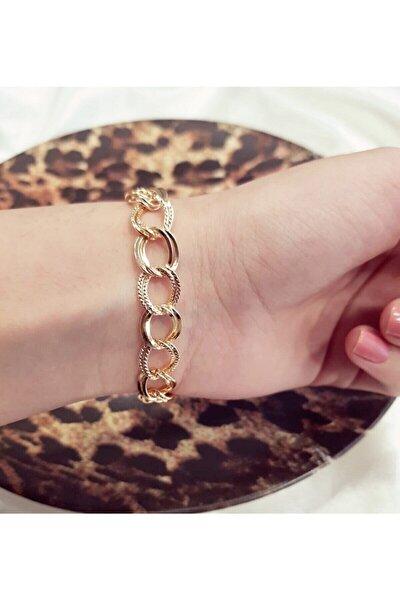 Kadın Gold Lüx Detaylı Çift Zincir Bileklik