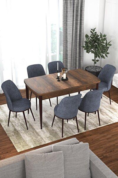 Via Serisi Barok Açılabilir Mutfak Masası Takımı-yemek Masası Takımı-masa+6 Adet Füme Sandalye