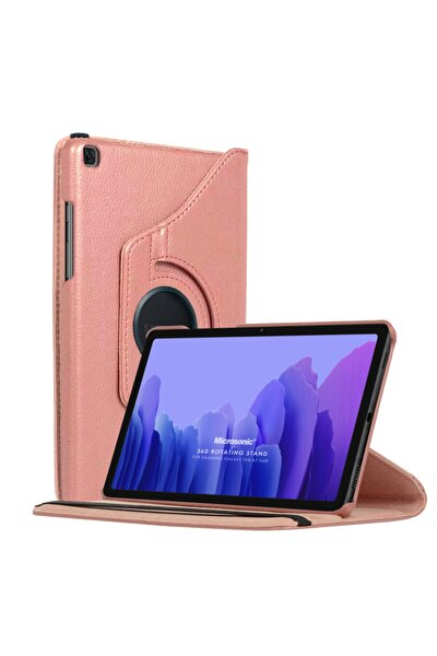 Microsonic Galaxy Tab A7 T500 Kılıf 360 Rotating Stand Deri Rose Gold