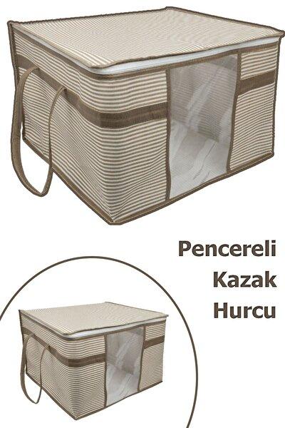 2 Adet Pencereli Kazak Hurcu Sandık Tipi Çok Amaçlı Saklama Çantası 45 X 40 X 30 Cm - Krengi Çizgili