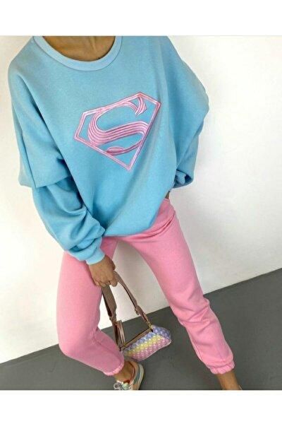 Pamuklu 3 Iplik Şardonlu Supergirl Eşofman Takımı