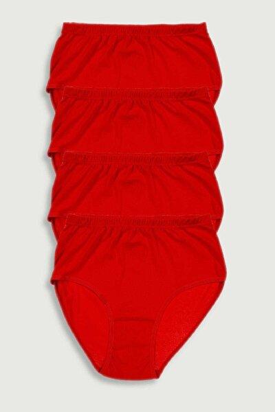 Kadın Kırmızı 4'Lü Paket Pamuk Ribana Bato Külot