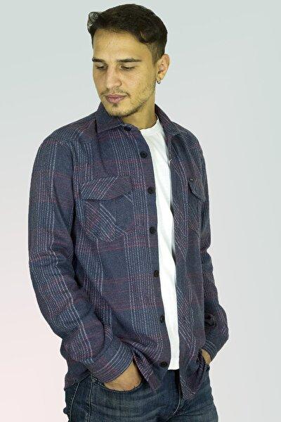 Erkek Mavi Kareli Ekoseli Oduncu Gömleği Sykh012g