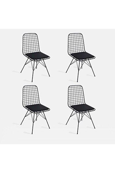4Lü Siyah Tel Sandalye Cafe Ofis Balkon Sandalyesi