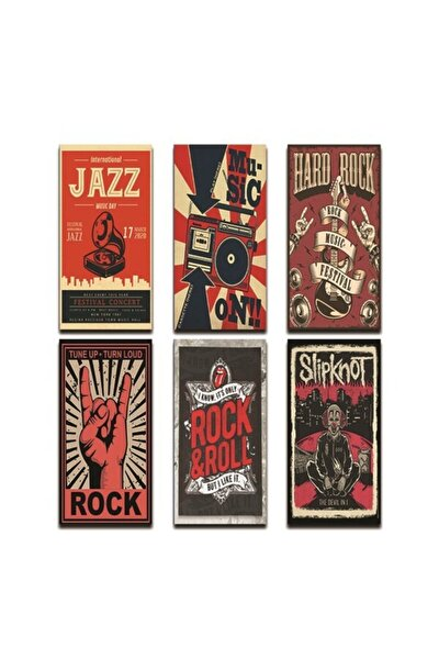Müzik Grubu Retro Afişleri 6'lı Retro Set Poster