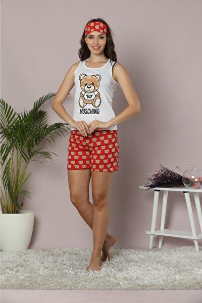 Kadın Beyaz - Kırmızı Oyuncak Ayı Baskılı Kolsuz Şort Pijama Takımı 20PJTBY001