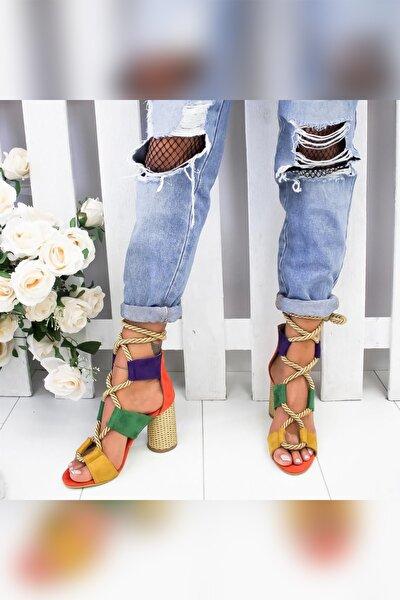 Kennedy Portakal Yeşil Mor Limon Hasır Topuklu Ayakkabı