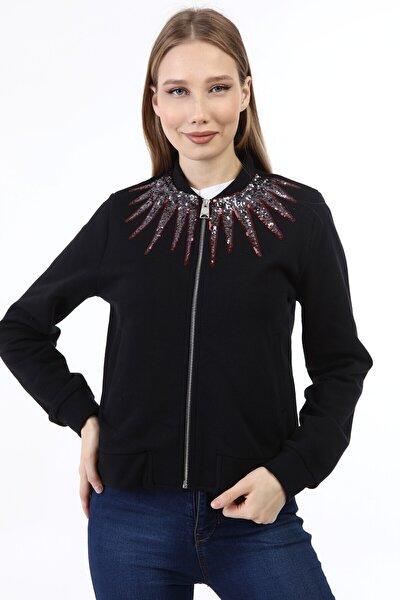 Kadın Siyah Fermuarlı Güneş Şeklinde Payetli Sweatshirt