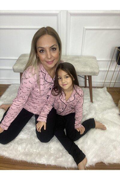 Pembe Düğmeli Anne-kız Pijama Takımı
