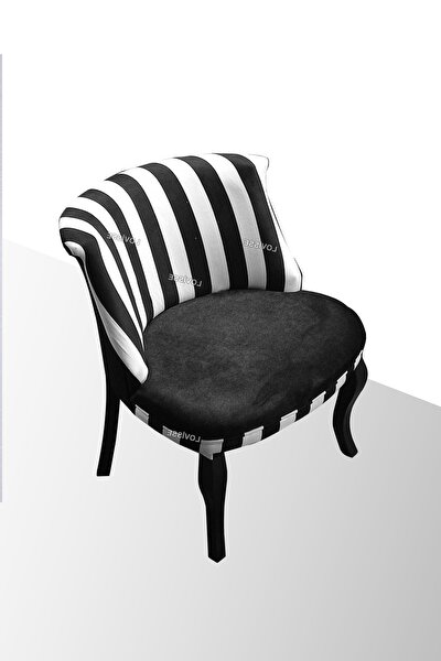 Zebra Berjer - Tekli Koltuk - Lükens Siyah Beyaz